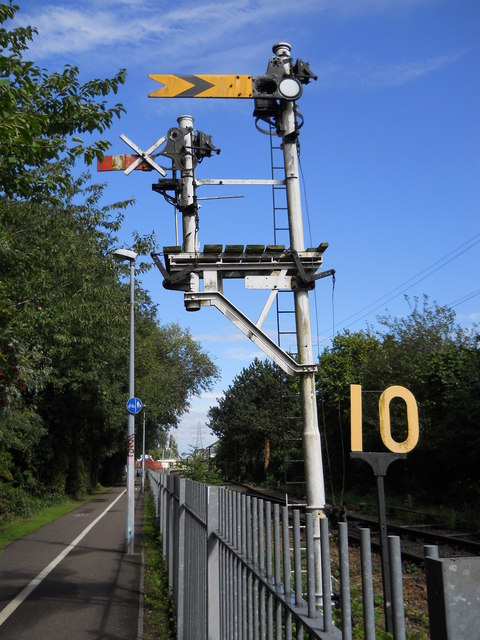 Semaphore signal on the Nene Valley Railway