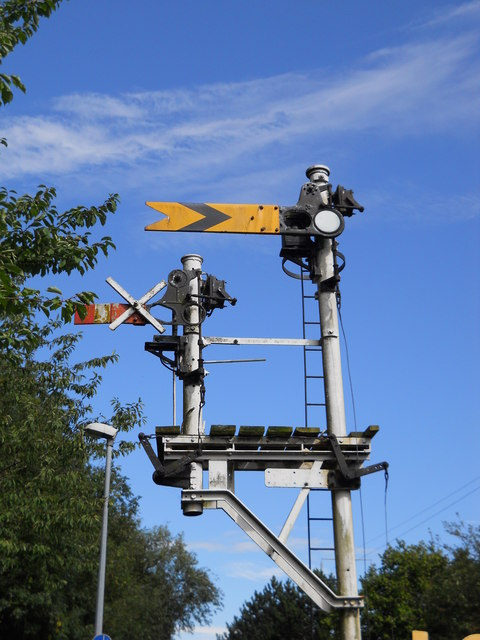 Semaphore signal on the Nene Valley Railway