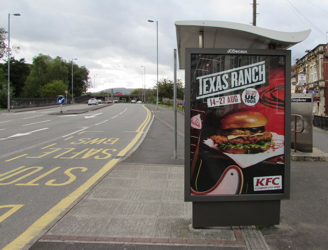 KFC advert on a Crindau bus shelter, Newport
