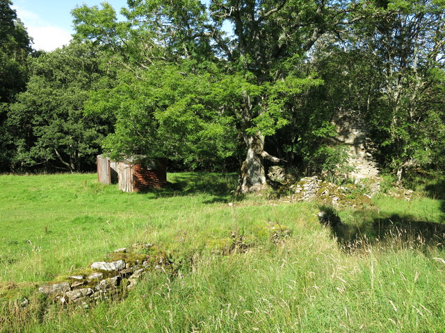 Old railway goods van and ruined building on a haugh by the Rowley Burn (3)