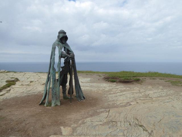 Bronze sculpture on Tintagel Head