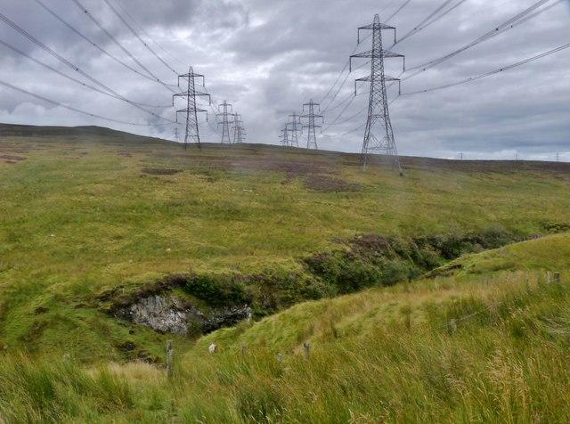 Power lines crossing North Rotten Burn