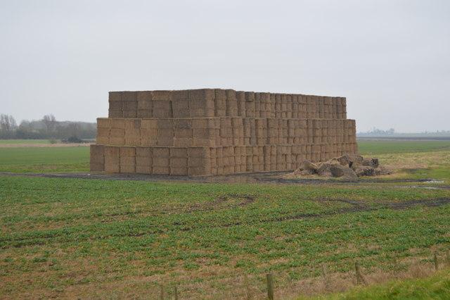 Big stack of straw bales