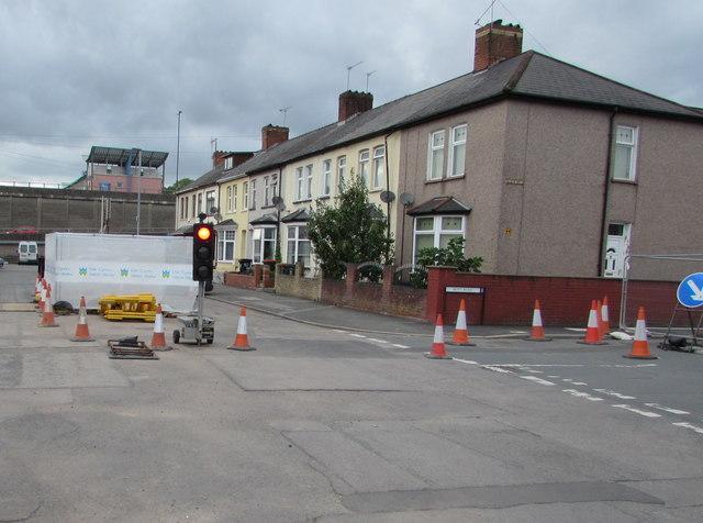 Temporary traffic lights in Crindau, Newport
