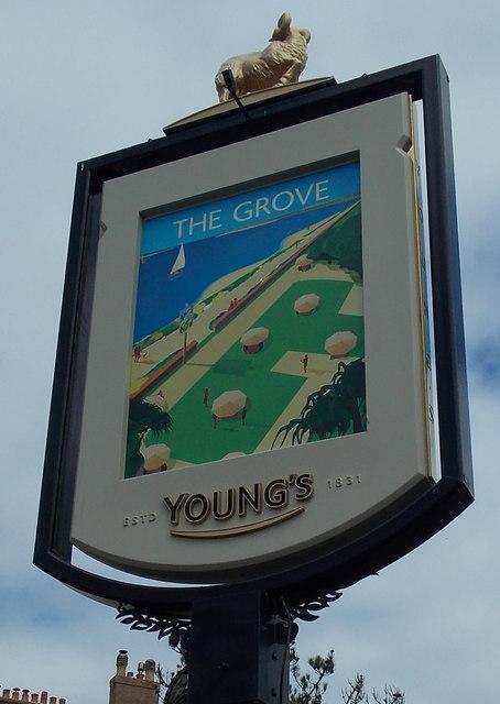 The Grove name sign, Esplanade, Exmouth