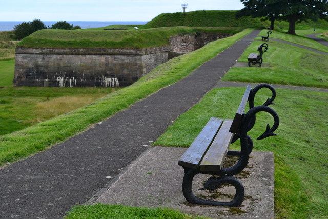 Serpentine benches on the ramparts near Berwick Barracks