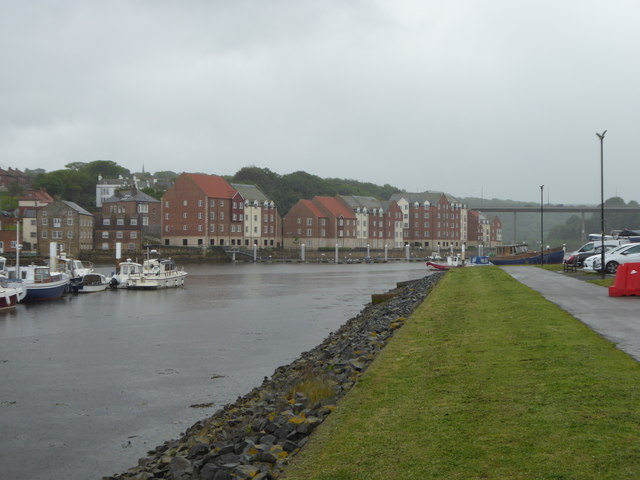 Residential buildings on the bank of the River Esk in Whitby