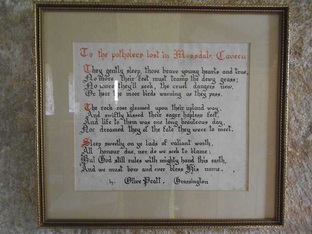 St  Mary, Conistone - Mossdale memorial poem