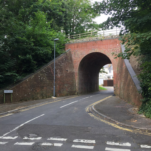 Former railway bridge carrying Rodwell Way over Sudan Road, Weymouth