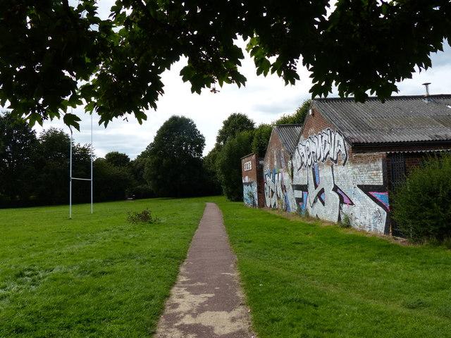 Graffiti covered factories