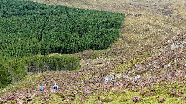 Heading downhill beside Garbhan Mòr