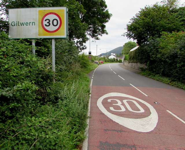 Start of the 30 zone at the northwest edge of Gilwern