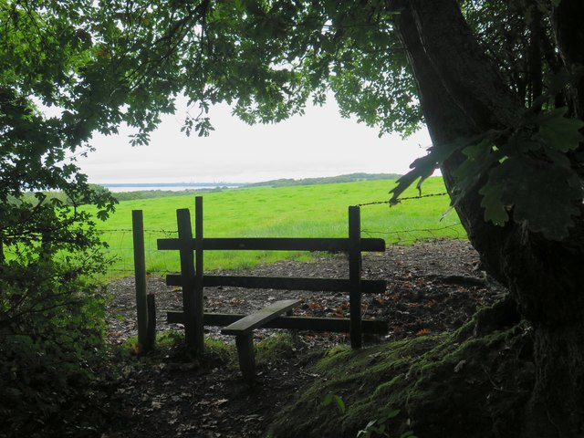 Stile and path leading to Stagwell Farm