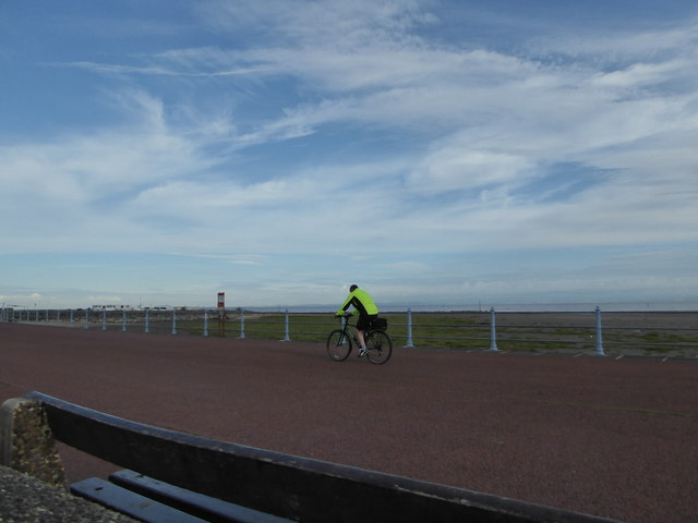 Cyclist on Morecambe seafront