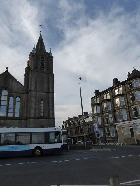 Bus passing Trinity Methodist Church