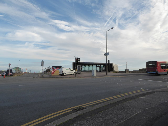 Looking across the A589 towards a café on Morecambe seafront