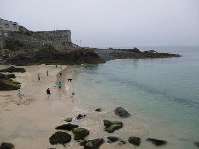 Beach  and  rocks  north  of  St  Ives  harbour