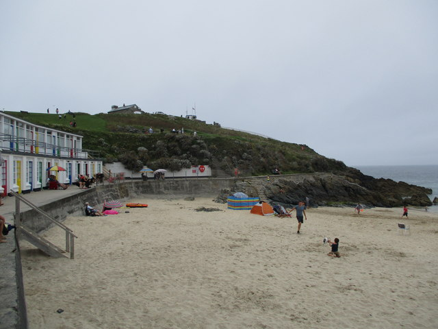 Lookout  Station  on  St  Ives  Head  from  Porth  Gwidden  beach