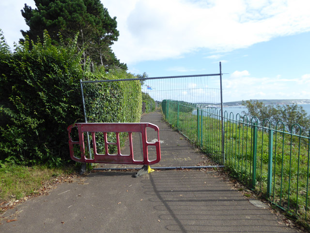 Blocked off cliff top path