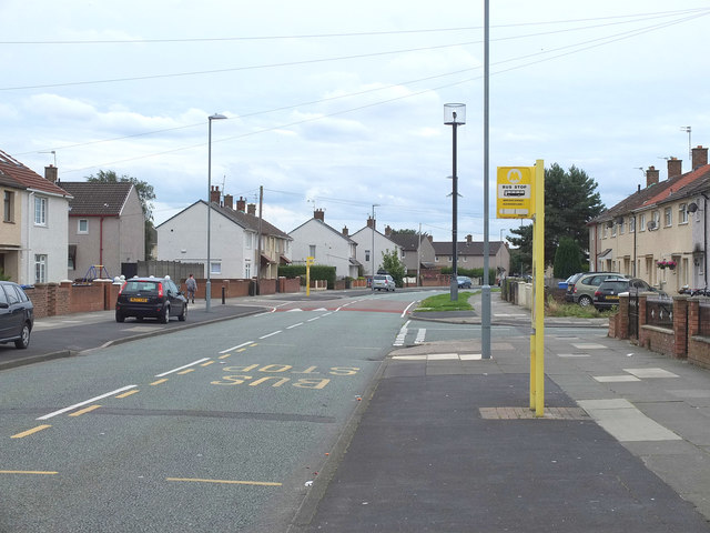 Bus stop and CCTV mast on Minstead Avenue, Kirkby