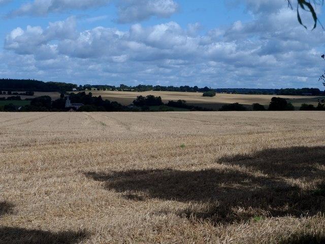 Harvested fields near Kimpton
