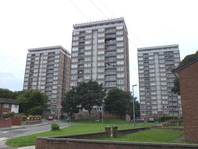 Blocks of flats at Daleside Road, Kirkby