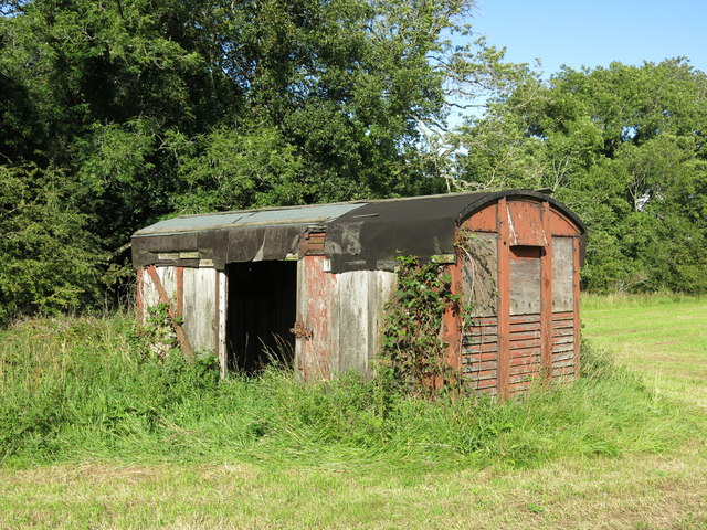 Old railway goods van east of Dipton Mill