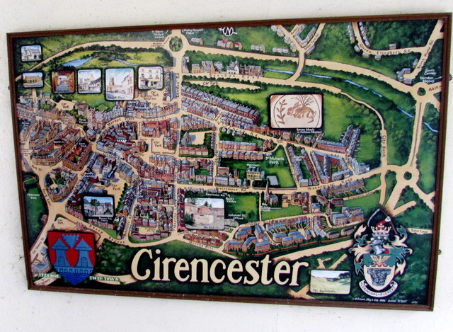 Cirencester map in the Corinium Hotel, Cirencester