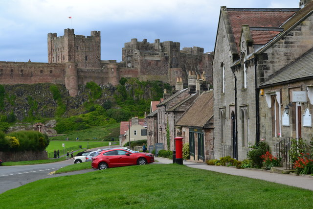 Front Street, Bamburgh, with the castle beyond