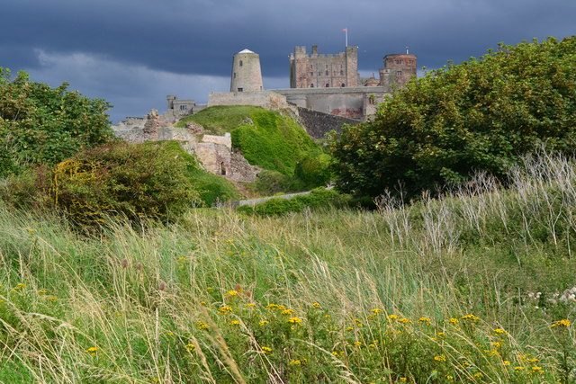 Bamburgh Castle and former windmill