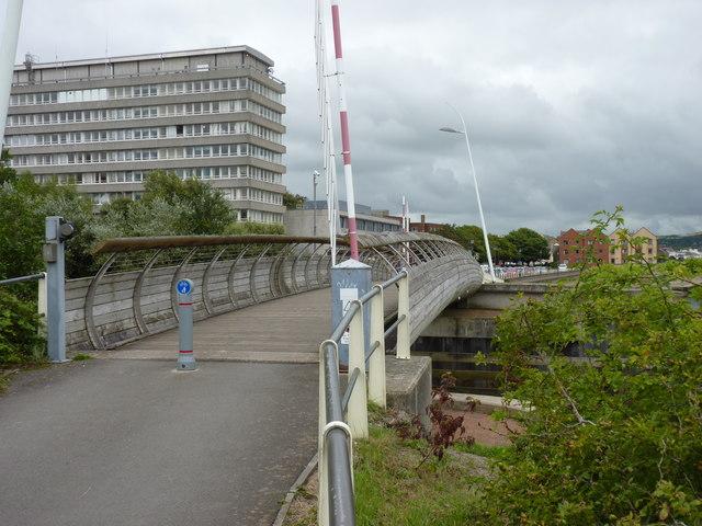 Swing bridge (River Yeo) and civic centre, Barnstaple