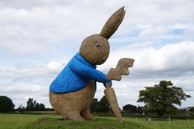 Peter Rabbit hay sculpture at Snugbury's Ice Cream, Nantwich