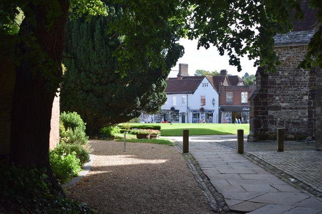 Path beside Wimborne Minster