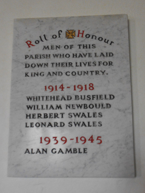 St Mary, Greenhow Hill - roll of honour