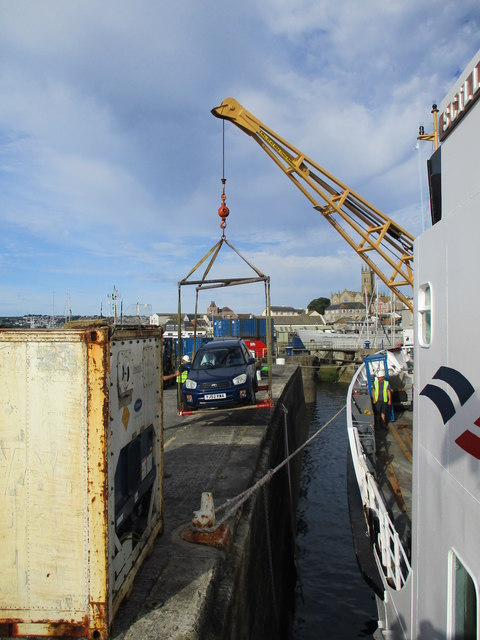 A  car  being  hoisted  aboard  the  Scillonian  III  at  Penzance