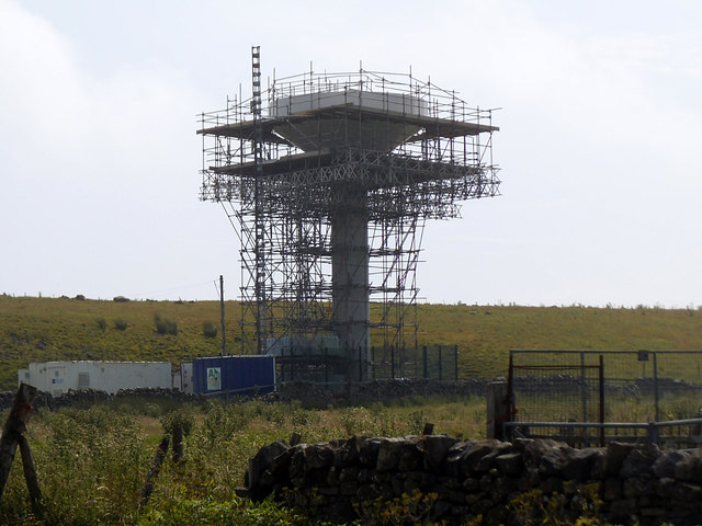 Greenhow Hill water tower under repair
