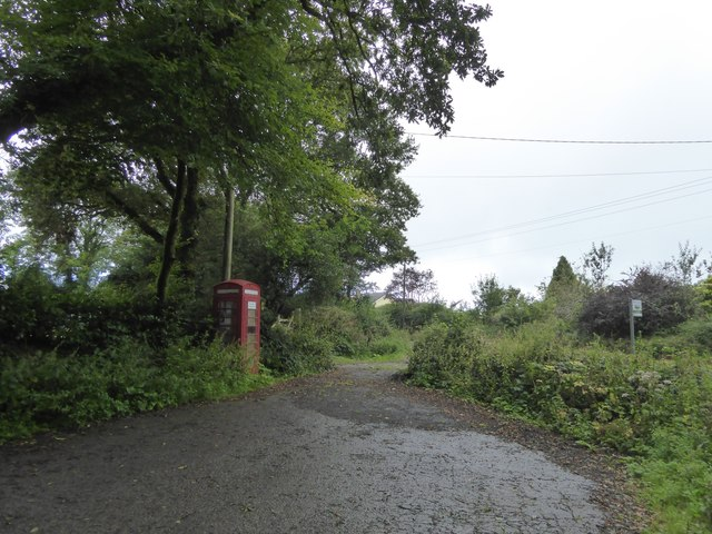 An overgrown phone box at Thorndon Cross