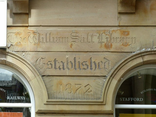 William Salt Library inscription, Market Square, Stafford