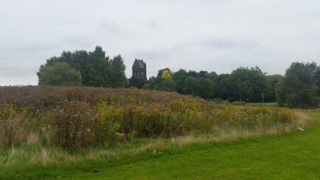 St Chad's, Kirkby, from the green near Kirkby Brook