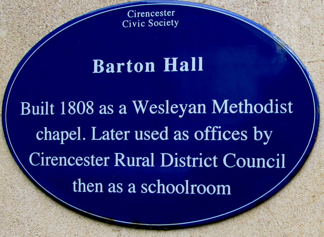 Barton Hall blue plaque, Gloucester Street, Cirencester