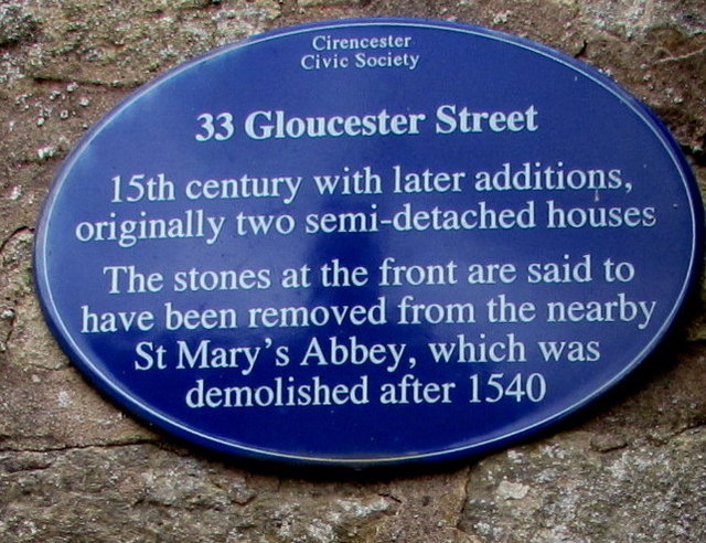 Blue plaque on 33 Gloucester Street, Cirencester