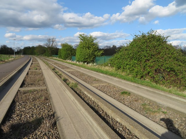 Guided busway entering Cambridge