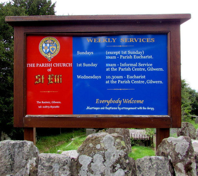 Information board outside St Elli's Church, Llanelly, Monmouthshire