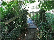 TQ0481 : Footbridge over a drain off the River Colne by Old Mill Farm by Mike Quinn