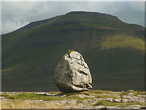 SD7176 : Glacial boulder on Scales Moor by Karl and Ali