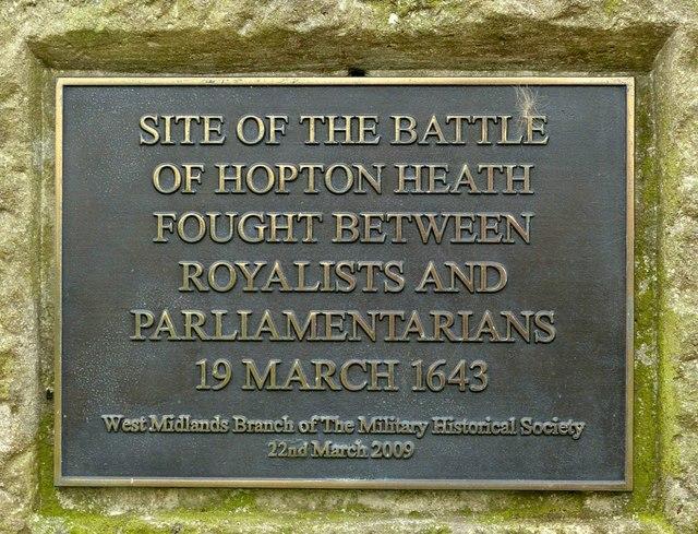 Battle of Hopton Heath memorial plaque