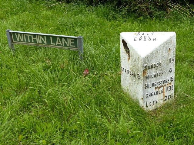 Milestone, Sandon Road at Within Lane