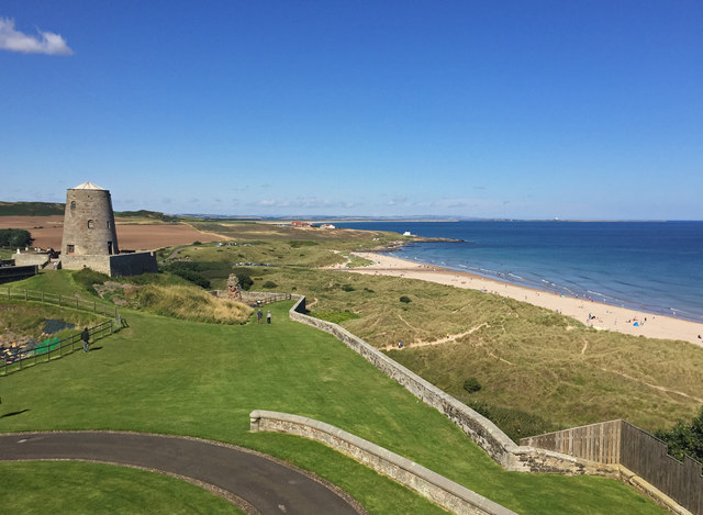 View north from the ramparts of Bamburgh Castle