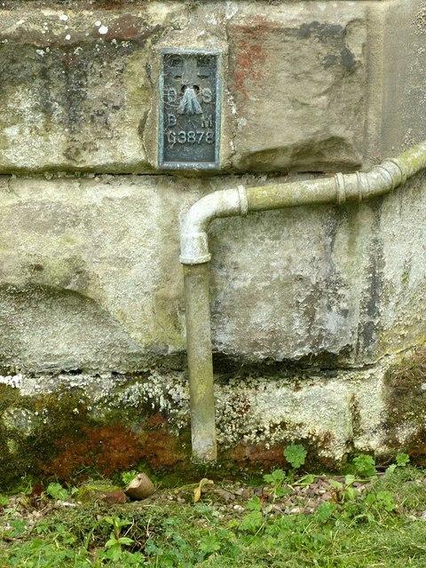 Flush bracket bench mark, St James's Church, Salt
