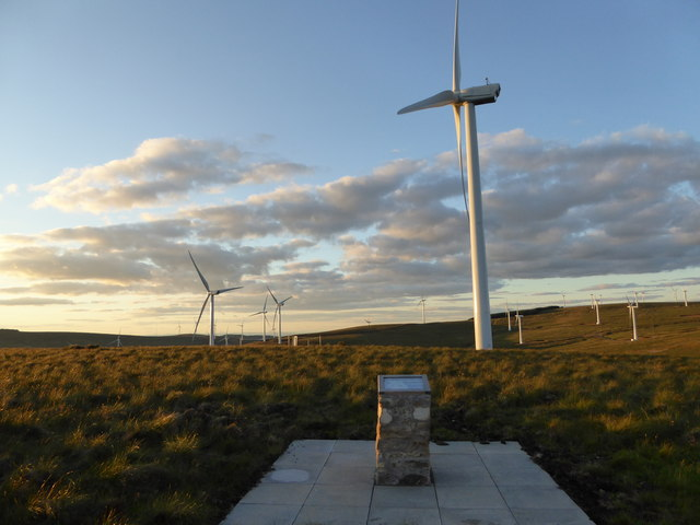 Information board and turbines on Arrarat Hill